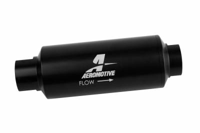 Fuel System - Filters - Aeromotive Fuel System - Aeromotive Fuel System Filter, In-Line, Marine, AN12, 40 Micron Stainless steel element, Black Hardcoat 12343
