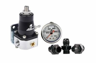Fuel System - Fuel Pressure Regulators - Aeromotive Fuel System - Aeromotive Fuel System Regulator Kit - (1)13129 EFI Bypass Regulator, (3)15606 Fittings, (1)15633 Guage 13130